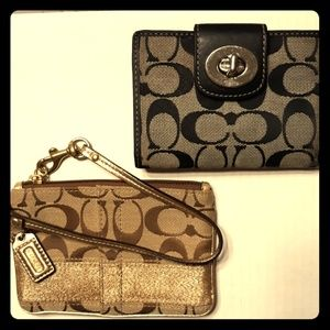 *Bundle*Used COACH Gold SIS Wristlet & Wallet Set